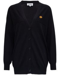 KENZO Cotton Cardigan With Logo Patch - Blue