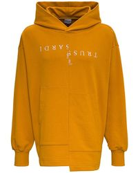 Trussardi Flared Jersey Hoodie With Front Logo Print - Multicolour