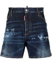 DSquared² Paint Splatter Distressed Denim Shorts - Blue
