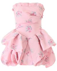 Philosophy Di Lorenzo Serafini Floral Print Strapless Mini Dress - Pink