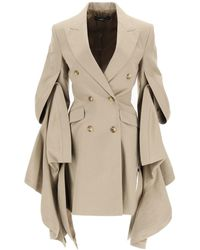 Y. Project Y Project Blazer/dress With Gathered Sleeves - Natural