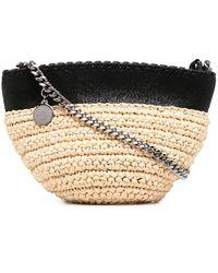 Stella McCartney Mini Straw Crossbody Bag - Black