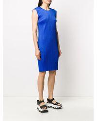Pleats Please Issey Miyake Pleated Shift Dress - Blue