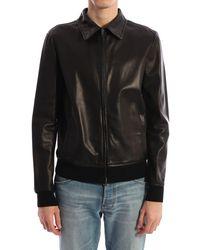 Salvatore Santoro Black Leather Jacket Black
