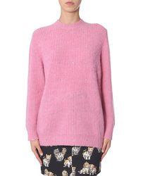 MSGM Round Neck Wool Sweater With Hearts - Pink