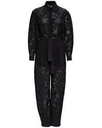Alberta Ferretti - Black Perforated Cotton Jumpsuit - Lyst