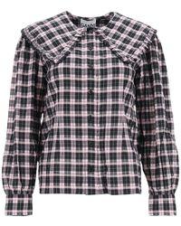 Ganni Tartan Seersucker Shirt - Multicolor