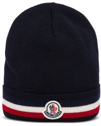 Moncler Blue Wool Hat With Logo