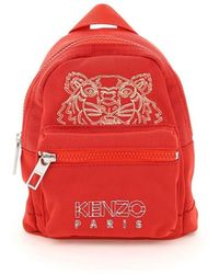 KENZO Tiger Embroidery Mini Backpack - Red