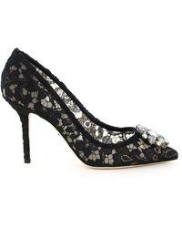 Dolce & Gabbana Charmant Lace Bellucci Court Shoes - Black