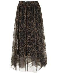 Brunello Cucinelli Skirt Raw Embroidery Tulle Skirt - Black