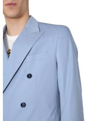 Dolce & Gabbana Double-breasted Taormina Suit In Cotton And Silk - Blue
