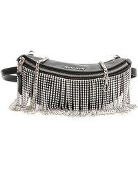 Miu Miu Embellished Fringes Belt Bag - Black
