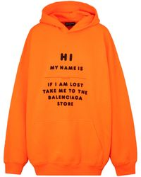 Balenciaga Cotton Hoodie Xs - Orange