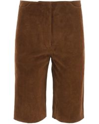 Totême Toteme Suede Shorts - Brown
