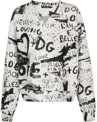 Dolce & Gabbana Black And White Cotton Blend Sweatshirt - Red