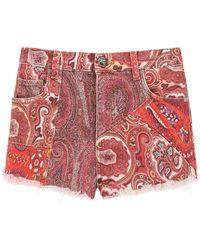 Etro Ibiza Denim Shorts 27 Denim - Red