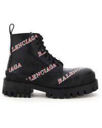 Balenciaga Strike Boots Logo - Black