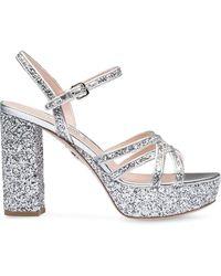 Miu Miu Glitter Platform Sandals - Metallic