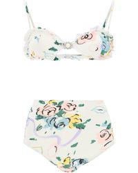 Alessandra Rich Floral Ribbon Print Bikini - White