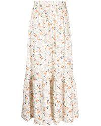 L'Autre Chose Floral Print Midi Skirt - White