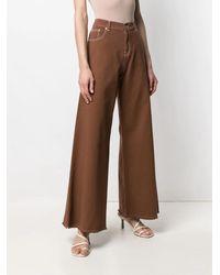 L'Autre Chose Contrast-stitch Straight Pants - Brown