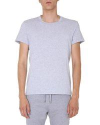 Balmain Crew Neck Cotton Jersey T-shirt With 3d Logo - Grey