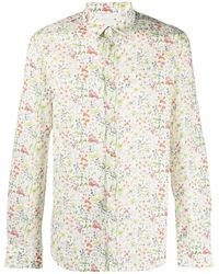 Paul Smith Floral-print Cotton Shirt - White