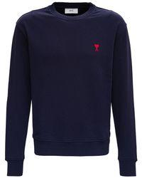 AMI - Ami De Coeur Blue Cotton Sweatshirt - Lyst