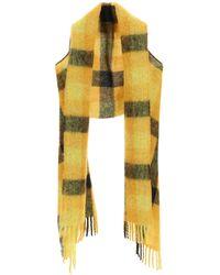Marni Check Fringed Shawl - Yellow
