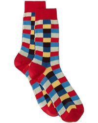 Miu Miu Check Socks - Red