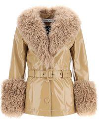 Saks Potts Shorty Jacket In Shiny Leather - Natural