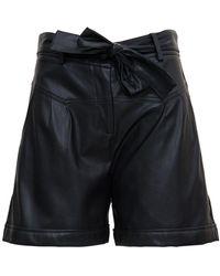 Liu Jo Leatheret Shorts With Belt - Black