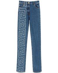 Versace Greca Print Wide Leg Jeans - Blue