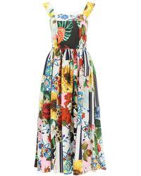 Dolce & Gabbana Patchwork Poplin Midi Dress - Multicolor
