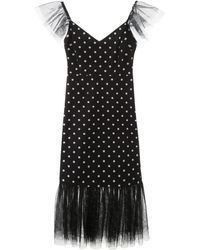 STAUD Polka-dot Ruffled Tulle Dress - Black