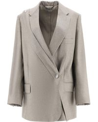 Stella McCartney Double Breasted Melange Wool Blazer - Grey
