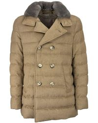 Herno Long Double-breasted Quilted Jacket With Fur Collar - Multicolour