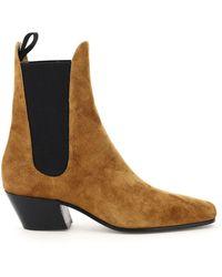 Khaite Saratoga Suede Chelsea Boots - Brown