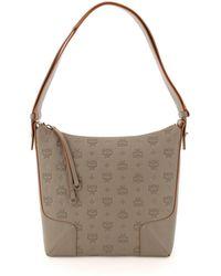MCM Klara Medium Hobo Bag In Monogram Leather - Grey