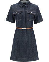 Sportmax Denim Mini Dress - Blue