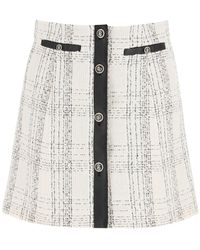 Ferragamo Tartan Tweed And Leather Mini Skirt - Multicolor