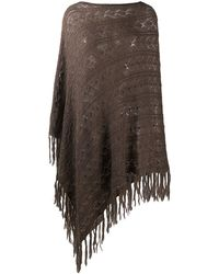 P.A.R.O.S.H. Knitted Frayed-edge Poncho - Multicolour