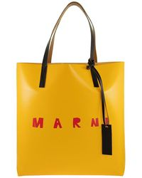 Marni Two-tone Shopping Bag With Front Logo - Yellow