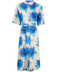 Paul Smith Floral-print Midi Shirt Dress - Blue