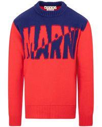Marni Two-tone Intarsia Logo Jumper In Wool It 46 - Red