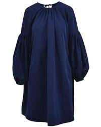 CALVIN KLEIN 205W39NYC Lace Detail Bishop Dress - Blue