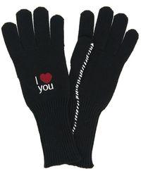 Raf Simons I Love You Embroidered Gloves - Black