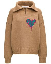 Palm Angels Wool Jumper With Heart Spray Inlay - Brown