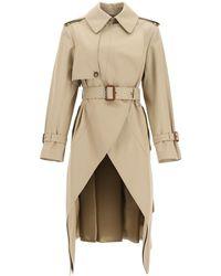 Alexander McQueen Asymmetric Trench Coat - Natural